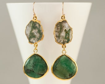 Raw Emerald Earrings, Moss Quartz Earrings, Gemstone Jewelry, Gold Drop Earrings, May Birthstone Gift, Green and Gold, Woodland Earrings