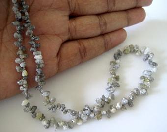 Raw Diamond Briolette, Natural Uncut Diamond Beads, Rough Diamonds, Rough Diamonds, 6mm To 3mm Beads, 4 Inch Half Strand, Sku-DB7