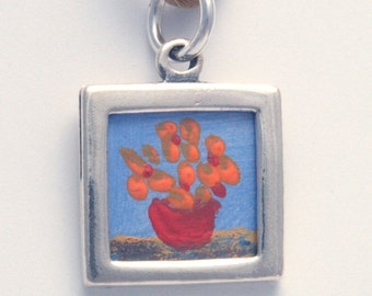 Poppies in Vase - Necklace Painting