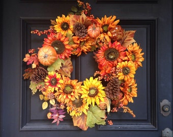 Fall Wreath-Fall Decor-Autumn Wreath-Autumn Door Wreath-Fall Door Wreath-Autumn Decor-Fall Leaves-Sunflower Wreath-Fall Color Wreath-