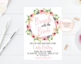 Bridal Shower Invitation, Bridal Shower Invite, Brunch Invitation, Bridal Shower Brunch, Brunch with the Bride Invitation, Boho Bridal [725]