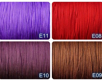 1mm nylon CORD, 10meters, exclusive thread, 1mm, RED, saddle brown, purple, indigo