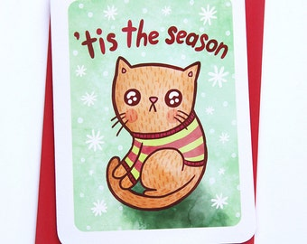 Tis the Season Cat Ugly Sweater Card - Holiday Card Cat Christmas card Holiday Greetings Season's Greetings Illustrated Holiday Card