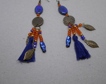 Navy and orange long earrings