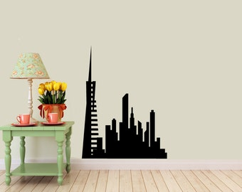 San Francisco Skyline vinyl Wall DECAL- Transamerican building urban city interior design, sticker art, room, home and business decor