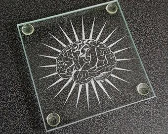 Nerd Brain Box Quiz Master Humorous Square Glass Drinks Table Coaster