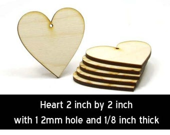 Unfinished Wood Heart - 2 inches tall by 2 inches wide and 1/8 inch thick with 1 2mm hole wooden shape (HART71)