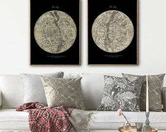 STAR MAP Astronomy  SET of 2, Figures Constellations Chart Print, Stars Print, Astronomy Room Decor, Astronomy Poster, Celestial Wall Art