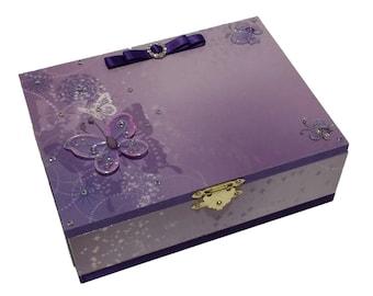 Purple Butterflies Keepsake Box, Trinket Box, Treasure Box, Jewellery box, Memory Box, Wooden Box, Personalised Box
