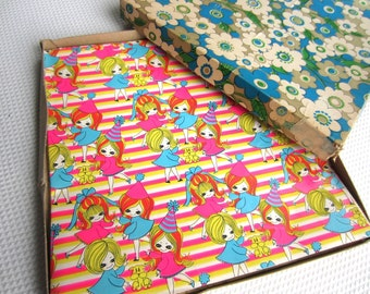 Vintage Retro Bright Floral Birthday Girl Wedding Shower Gift Wrapping
