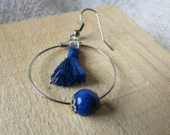 Blue Lagoon hoop/bead earrings