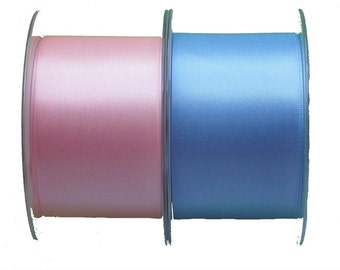 Double Sided Satin Ribbon in Blue or Pink