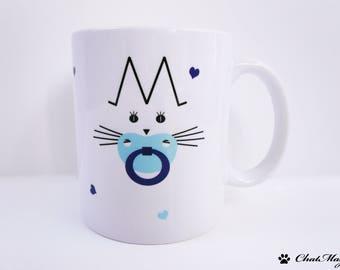 Mug, mug chat, ChatMage, mug personnalisé, mug chaton, chaton, mug bébé, mug garçon, cadeau naissance, cadeau baptême, cadeau bébé, parents