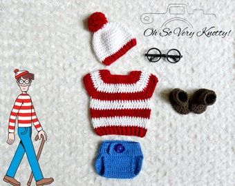 Handmade Waldo-Inspired baby boy crochet outfit/costume Photo Prop. Hat, Shirt, Diaper Cover, Booties. Hypoallergenic Cotton!