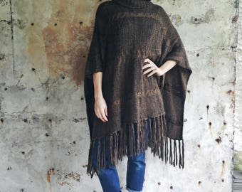Montpellier Fringe Chocolate Brown Mohair Oversized Knit 1970s Sweater Jumper  Poncho XS S