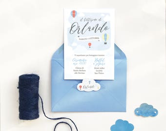 Printable christening or first communion invitation card with butterflies and flowers - 3 color options available: white, mint or lilac