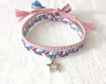 Pair of hand made bracelets beads silver + woven star charm blue purple pink for girl