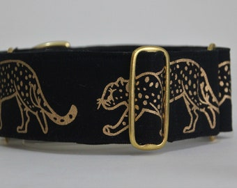 "Greyhound Gold Leopard on Black 2"" Martingale Collar"
