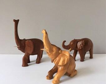 Carved Wood Elephants, Vintage Elephant Trio, Trunk Up African Elephant Figurines, Boho Elephant Decor, Symbols of Royalty Strength Power