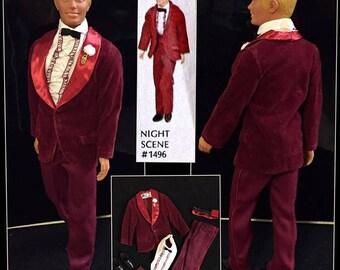 Vintage Ken 1970 The Night Scene Tuxedo #1496 Complete