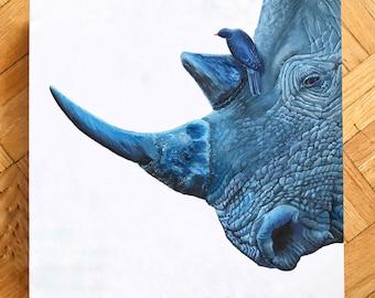 Wildlife oil painting,rhino painting,wooden block painting,endangered animal painting,bird painting,10x10 inch wooden block painting.
