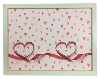 Magnet Board - Magnetic Memo Board - Dry Erase Board - Framed Bulletin Board - Office Wall Decor - Hearts and Ribbon Design - inclds magnets