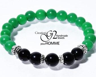 Black onyx Bracelet Agate Green Homme