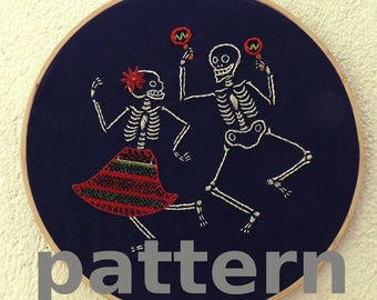 Dancing skeletons modern hand embroidery pattern - instant digital download PDF in english and spanish - dia de muertos modern embroidery