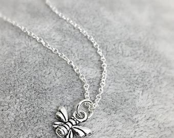 Tiny silver bumblebee necklace, honey bee charm, bee jewelry, honey bees, worker bee, bumblebees, sterling silver gifts, bee lover gift