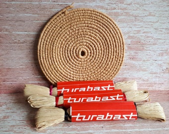 1960's Three Skeins of Turabast Straw - Made in Switzerland - Unbroken length of 24 yards