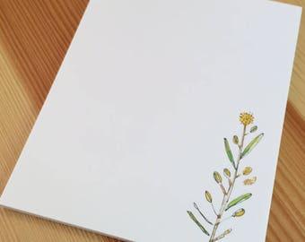Wild Pepper Grass Wildflower Notepad - Small Watercolor Wild Grass Weed Notepad - 4 x 5 Handmade Notepad - Gardener Gift - 40 Sheet Notepad