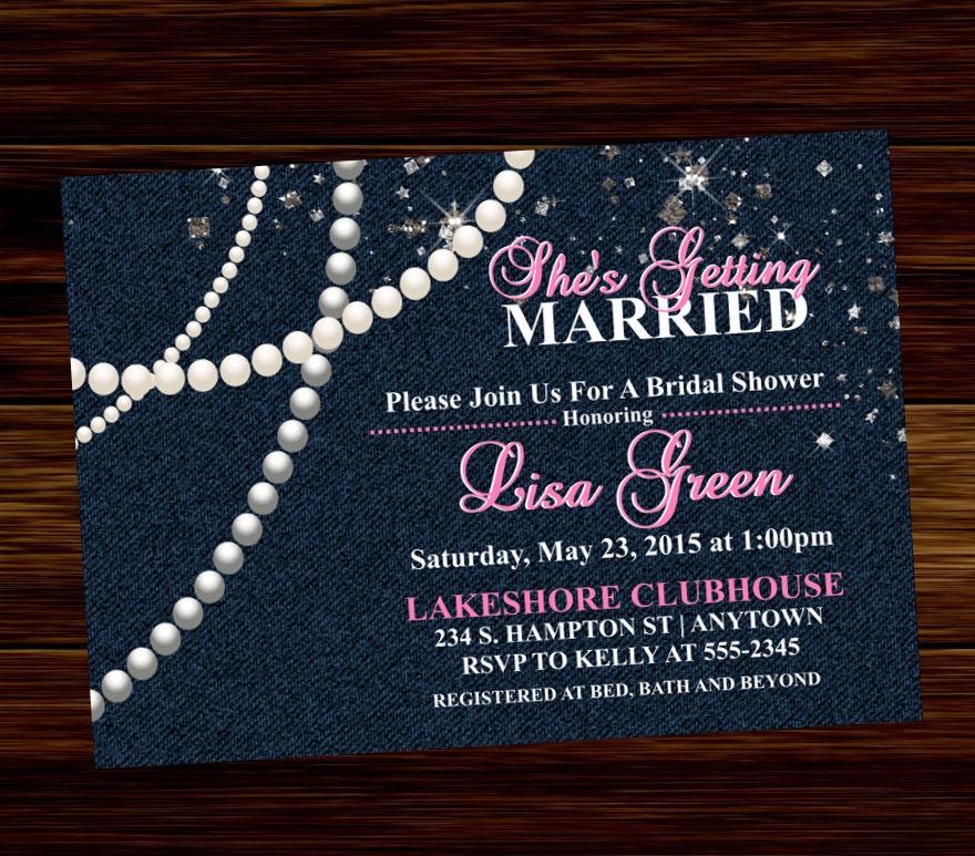 Denim Bridal Shower Invitation Diamonds and Pearls Digital