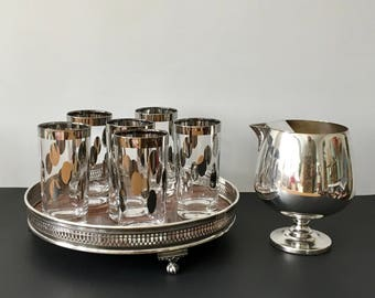 Mid Century Silver Dots Highball Glasses, Dorothy Thorpe, Priced Individually, 10 Available
