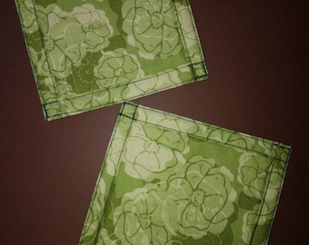 Green flower quilted coasters