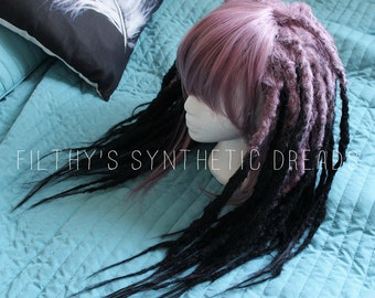 Dread wig / CUSTOM / long natural synthetic dreads / crocheted dread extensions