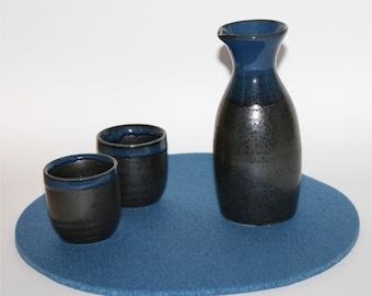 "9"" Round Felt Trivet Pad Kitchen Trivets 5mm Thick Virgin Merino Wool Felt Wedgewood Blue"