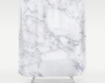 White Marble Shower Curtain Girls Bathroom Shower Curtain White Marble Bathroom Girls Shower Curtain Marble Pattern Marble Print