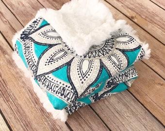 Infant Baby Blanket - Mandala Baby Blanket - Teal Baby Blanket - Silver Sparkle Baby Blanket - Summer Baby Blanket - Car Seat Blanket