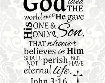 Scripture Cross Custom Keychain John 3:16 Keychain Christian