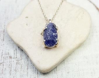 Tanzanite necklace. Raw Tanzanite pendant. Rough gemstone. Rough Tanzanite crystal jewelry. birthstone jewelry. December birthstone.