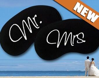 Mr and Mrs Custom Made Embroidered Eye Masks - SALE  - favorite on pinterest tumblr instagram polyvore