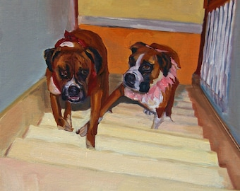 You're Trying to Trip Me Fine Art Boxer Dogs Print