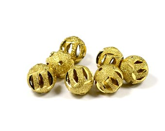 5 Pcs. Raw Brass 14 mm Textured Round Brass Bead