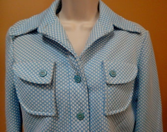 70s ladies leisure suit, light blue, white polkadots, Country Suburban by Country Miss label