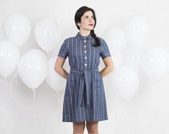 50s shirt dress - Linen and cotton shirt dress handmade - Vintage shirtwaist dress - Denim shirt dress - 1950s chemisier with sash belt