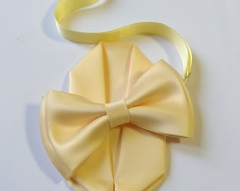 Adult & Kids sizes Lemon Yellow bow tie with pocket square