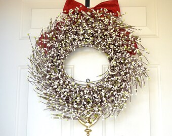 White Raspberry wreath - Holiday front door decor - Year round wreath - Christmas decor