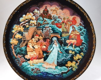 Russian Art Plate- Tianex- The Snow Maiden and Her Parents-Free Shipping