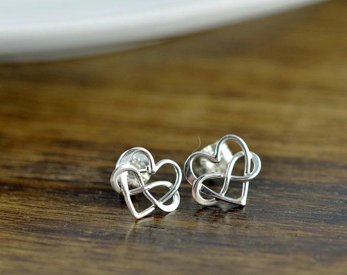 sterling silver infinity heart earrings - silver heart earrings - stud earrings - heart infinity earrings - tiny stud earrings