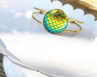 Mermaid Scale Bracelet. Antique Gold Cuff Bracelet